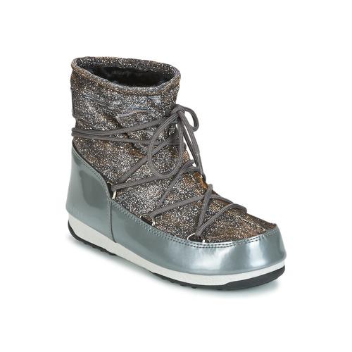 Chaussures Femme Bottes de neige Moon Boot MOON BOOT LOW LUREX Gris / Argent
