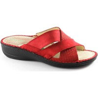 Chaussures Femme Mules Grunland Grünland ENDE CE0542 cuir rouge pantoufles dame zeppetta Rosso