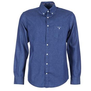 Vêtements Homme Chemises manches longues Gant THE INDIGO SHIRT Bleu