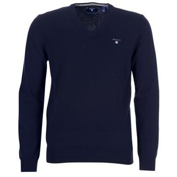 Vêtements Homme Gilets / Cardigans Gant SUPER FINE LAMBSWOOL V-NECK Marine