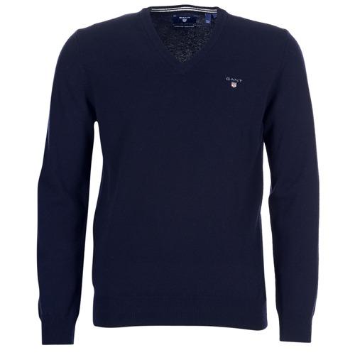 Vêtements Homme Pulls Gant SUPER FINE LAMBSWOOL V-NECK Marine