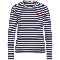 Vêtements Femme T-shirts manches longues Comme Des Garcons T-shirt Play by Comme des Garçons bleue à rayures blanches Bleu