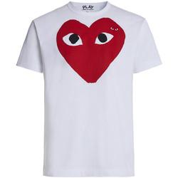 Vêtements Homme T-shirts manches courtes Comme Des Garcons T-shirt Play by Comme des Garçons blanche avec cœur rouge Blanc