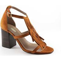 Chaussures Femme Sandales et Nu-pieds Sapena 32717 sandales en cuir en cuir à talons en daim boucle frange f Marrone