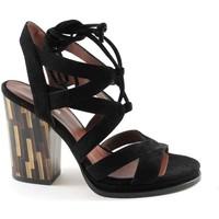 Sapena 33348 lacets noirs à talons en daim sandales femmes Nero - Chaussures Sandale Femme
