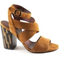 Chaussures Femme Sandales et Nu-pieds Sapena 33383 kansas sandales en cuir à talons boucle en suède pour fem Marrone