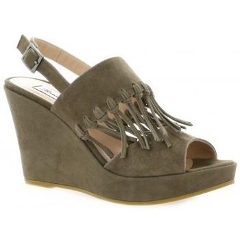 Chaussures Femme Sandales et Nu-pieds Benoite C Nu pieds cuir velours Taupe