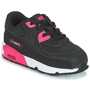 Chaussures Fille Baskets basses Nike AIR MAX 90 LEATHER TODDLER Noir / Rose