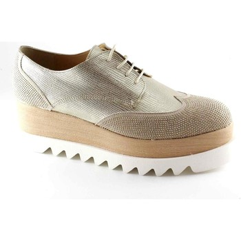Chaussures Femme Derbies Divine Follie DIVINE FOLIE 121 chaussures beige or lacets paillettes plate-for Beige