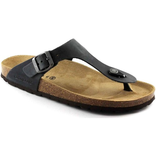 Chaussures Homme Tongs Grunland Grünland ROBI CB2008 Flip pantoufles anthracite flops homme Birk Nero