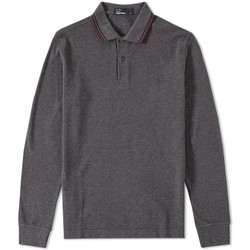 Vêtements Polos manches longues Fred Perry POLO  A BANDES MANCHES LONGUES 829 GRIS