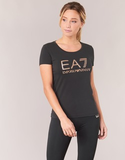 Vêtements Femme T-shirts manches courtes Emporio Armani EA7 TRAIN LOGO SERIES GLITTER Noir / Or Rose