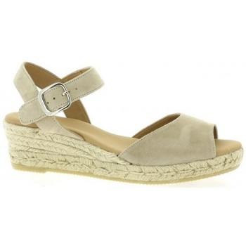 Pao espadrilles cuir velours Taupe - Chaussures Espadrilles Femme