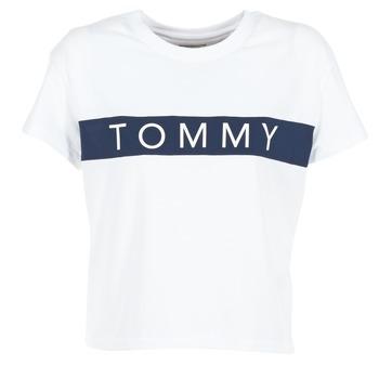 Vêtements Femme T-shirts manches courtes Hilfiger Denim THDW CN T-SHIRT S/S 26 Blanc / Marine