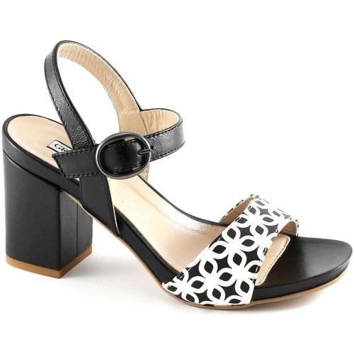 Chaussures Femme Sandales et Nu-pieds Grunland Grünland QUAD SA1611 sandales en cuir blanc femme noire talons s Nero