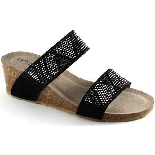 Chaussures Femme Mules Grunland Grünland PAGE CB1210 sandales compensées noir pantoufles femme s Nero