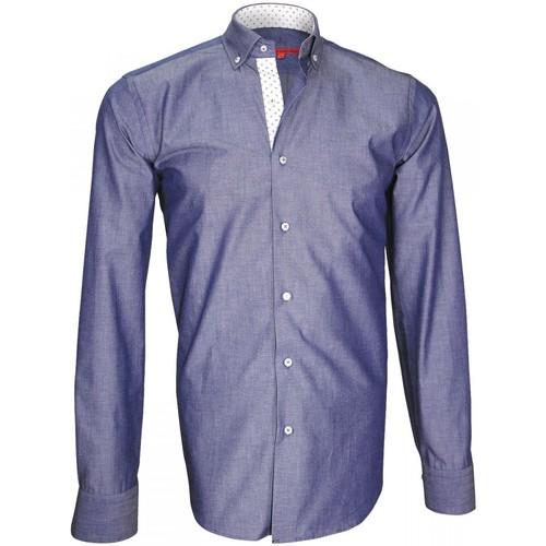 Vêtements Homme Chemises manches longues Andrew Mc Allister chemise oxford epsom bleu Bleu