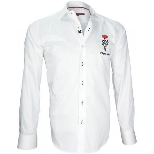 Vêtements Homme Chemises manches longues Andrew Mac Allister chemise brodee tweickenham blanc Blanc