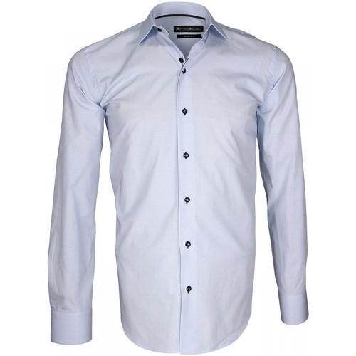 Vêtements Homme Chemises manches longues Emporio Balzani chemise fil a fil biagi bleu Bleu