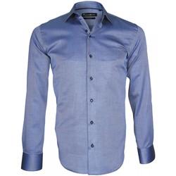 Vêtements Homme Chemises manches longues Emporio Balzani chemise double retors biagi bleu Bleu