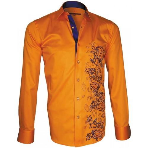 Vêtements Homme Chemises manches longues Andrew Mac Allister chemise brodee paysley orange Orange