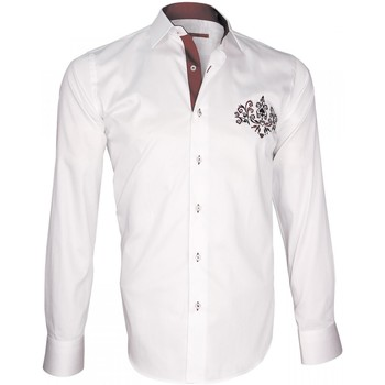 Vêtements Homme Chemises manches longues Andrew Mc Allister chemise brodee windsor blanc Blanc