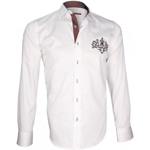 Vêtements Homme Chemises manches longues Andrew Mac Allister chemise brodee windsor blanc Blanc
