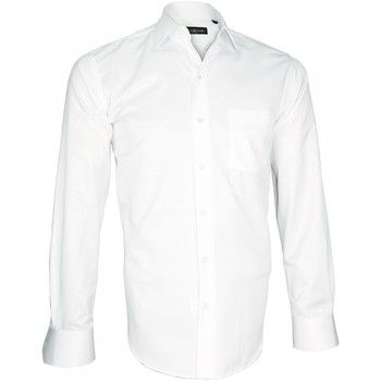 Vêtements Homme Chemises manches longues Emporio Balzani chemise armure diagonale bianco blanc Blanc