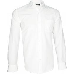 Vêtements Homme Chemises manches longues Emporio Balzani chemise fil a fil bianco blanc Blanc