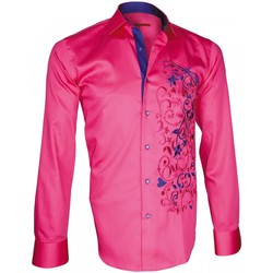 Vêtements Homme Chemises manches longues Andrew Mac Allister chemise brodee flowerty rose Rose