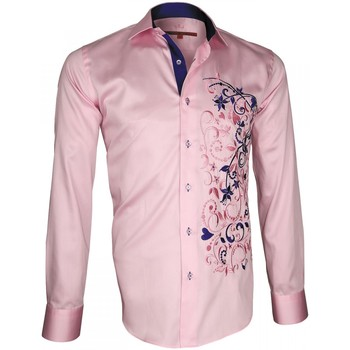 Vêtements Homme Chemises manches longues Andrew Mc Allister chemise brodee flowerty rose Rose