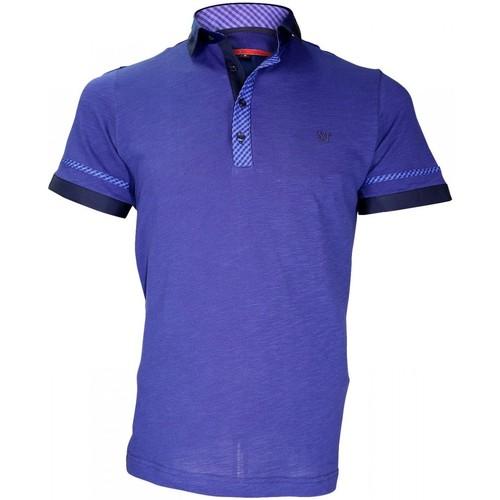 Vêtements Homme Polos manches courtes Andrew Mac Allister polo bi-matiere folkerstone bleu Bleu