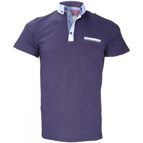 Vêtements Homme Polos manches courtes Andrew Mac Allister polo col boutonnee studland bleu Bleu