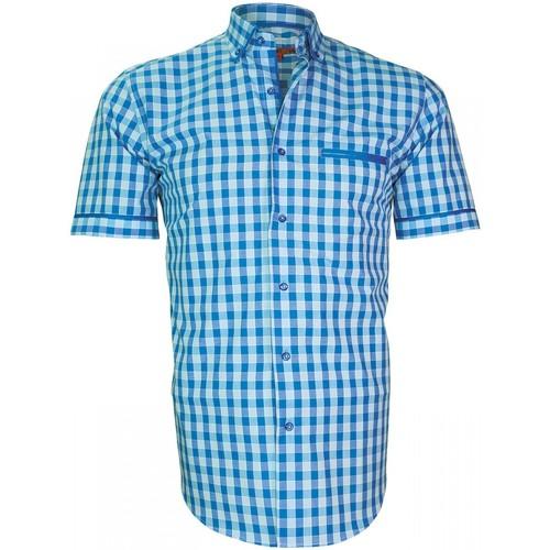Vêtements Homme Chemises manches longues Andrew Mac Allister chemisette vichy dixon bleu Bleu