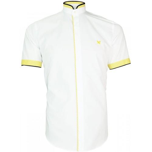 Vêtements Homme Chemises manches longues Andrew Mc Allister chemisette col mao luxley blanc Blanc