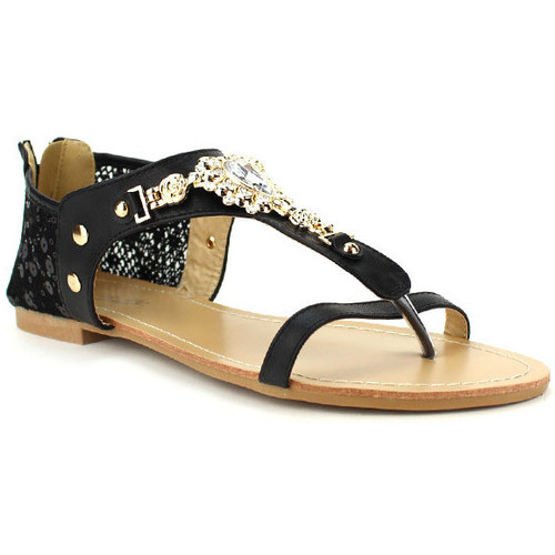 Femme Et Nu Chaussures Noir pieds Tongs Cendriyon Sandales b6IYvf7gy