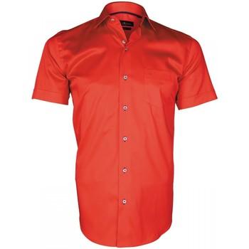 Vêtements Homme Chemises manches courtes Emporio Balzani chemisette en popeline montebello rouge Rouge