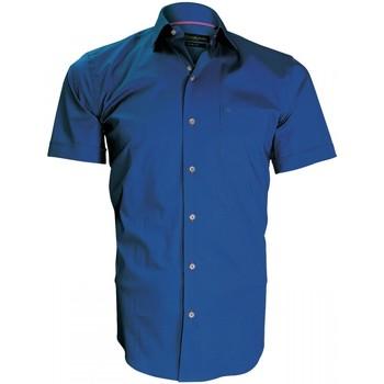 Vêtements Homme Chemises manches courtes Emporio Balzani chemisette en popeline montebello bleu Bleu