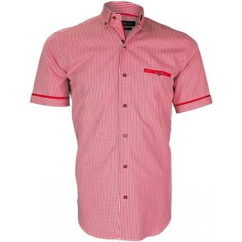 Vêtements Homme Chemises manches courtes Emporio Balzani chemisette vichy piastrella rouge Rouge