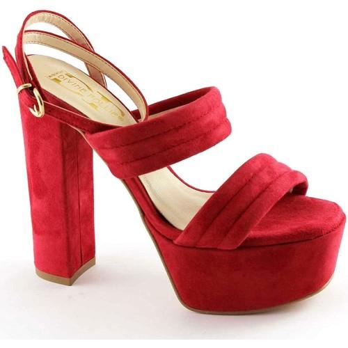 Chaussures Femme Sandales et Nu-pieds Divine Follie DIVINE FOLIE 8857 spartiates talon rouge PLATEAUX Rosso