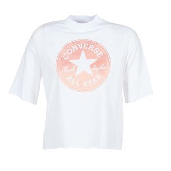 Vêtements Femme T-shirts manches courtes Converse SATIN CP MOCK NECK TEE Blanc