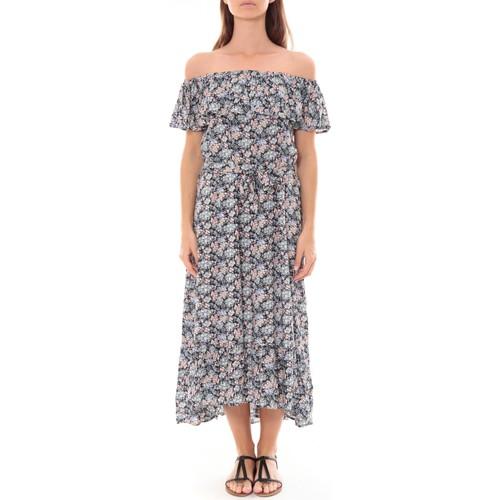 Vêtements Femme Robes longues By La Vitrine Robe Longue Care  of you Fleuri Noir F50035 Noir