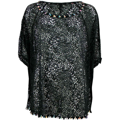 Vêtements Femme Tops / Blouses Banana Moon Tunique   Seethrough Coral Noir NOIR