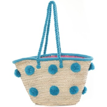 Sacs Femme Cabas / Sacs shopping Very Bag Street Sac Paille pompons Mutli  Bleu Bleu