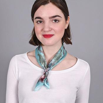 Accessoires textile Femme Echarpes / Etoles / Foulards Allée Du Foulard Carré de soie Piccolo Bellisima - 50x50 cm Bleu