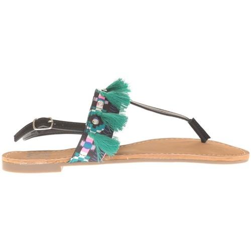 Chaussures Femme Sandales et Nu-pieds Cassis Côte D'azur Ella entre doigt bridées et Pompons Black Noir