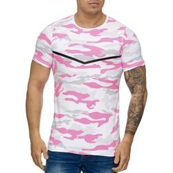Vêtements Homme T-shirts manches courtes Cabin T-shirt homme camouflage T-shirt 3178 rose et Blanc Rose