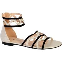 Chaussures Femme Sandales et Nu-pieds The Divine Factory Sandales Plate Femme  TDF2931 Noir Noir