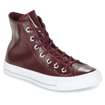 Chaussures Femme Baskets montantes Converse CHUCK TAYLOR ALL STAR CRINKLED PATENT LEATHER HI DARK SANGRIA/DA Bordeaux / Blanc