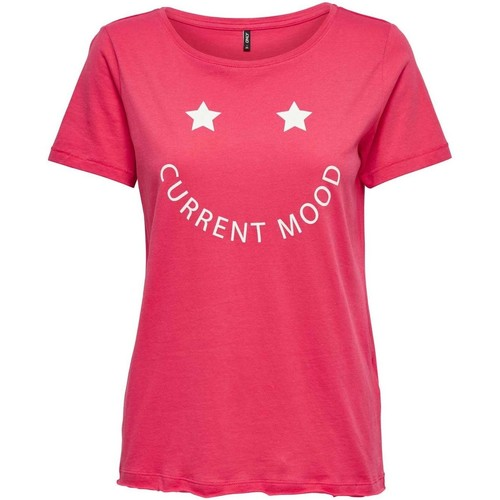 Vêtements Femme T-shirts manches courtes Only STARS S/S PRINT TOP TEABERRY/SMILEY Rose